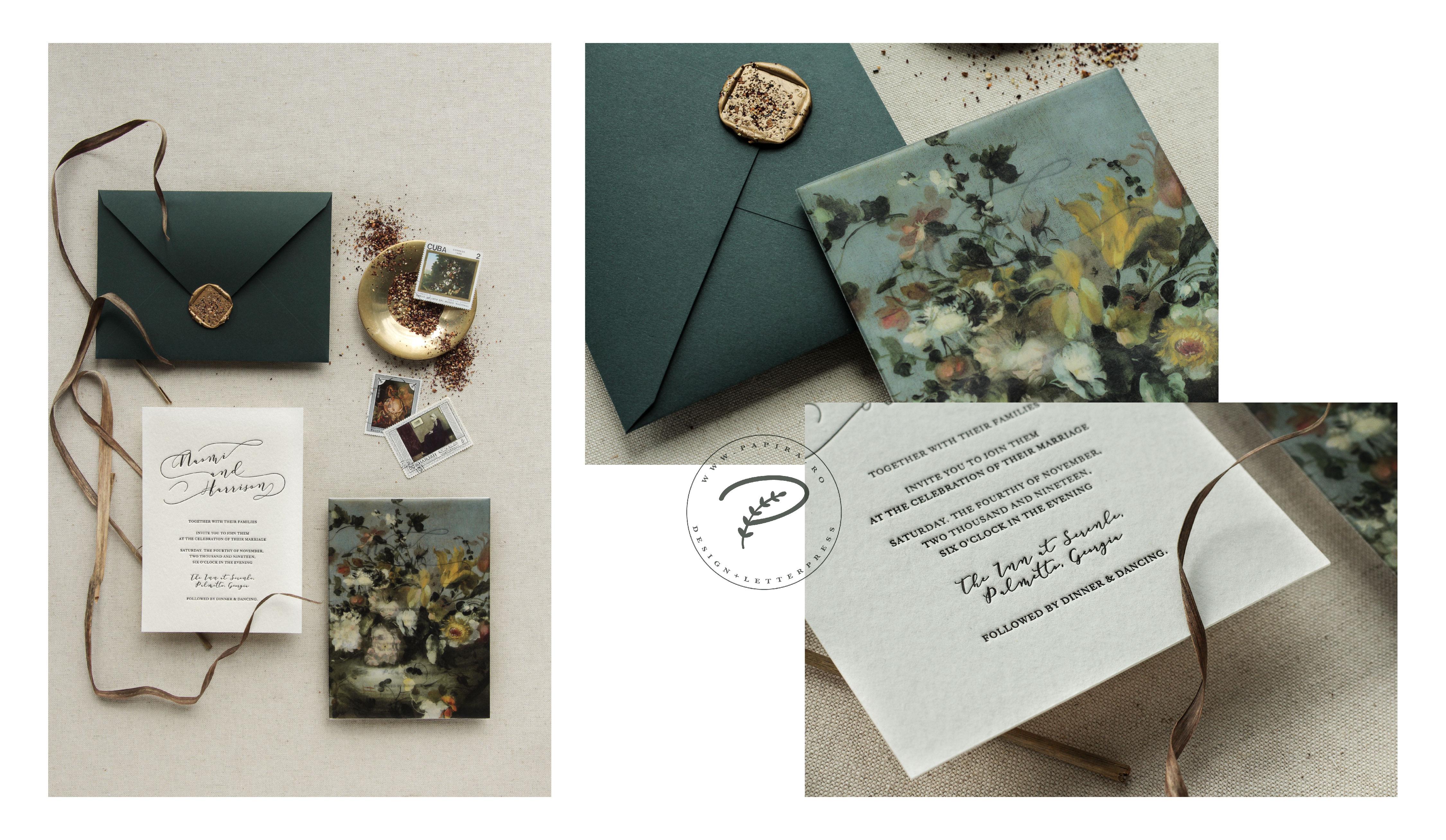 Invitatii de nunta personalizate, letterpress, hartie manuala si sigiliu ceara