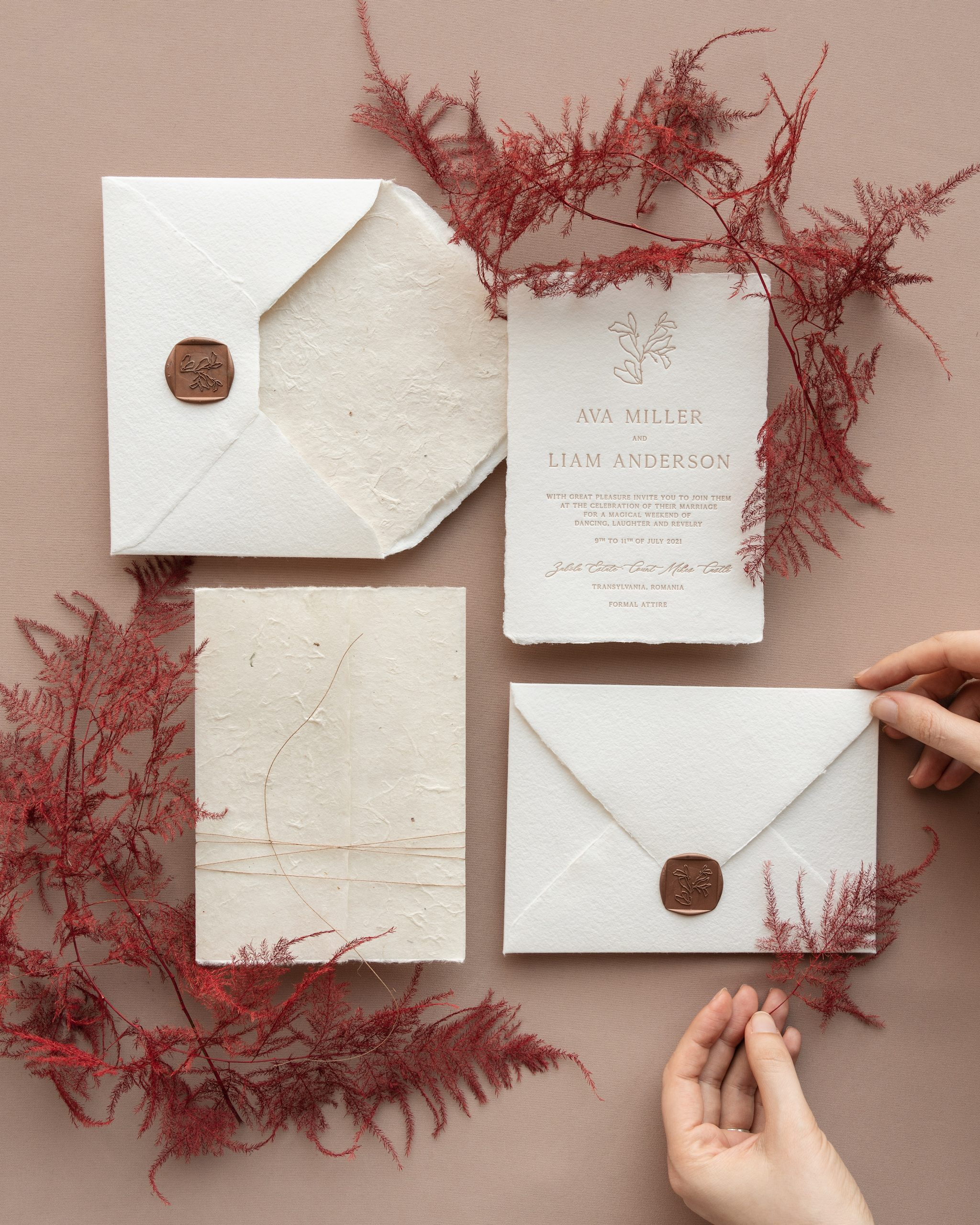 Letterpress Wedding Invitation with Wax Seal_Papira