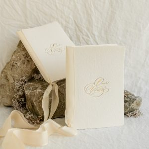 gold foil vow books