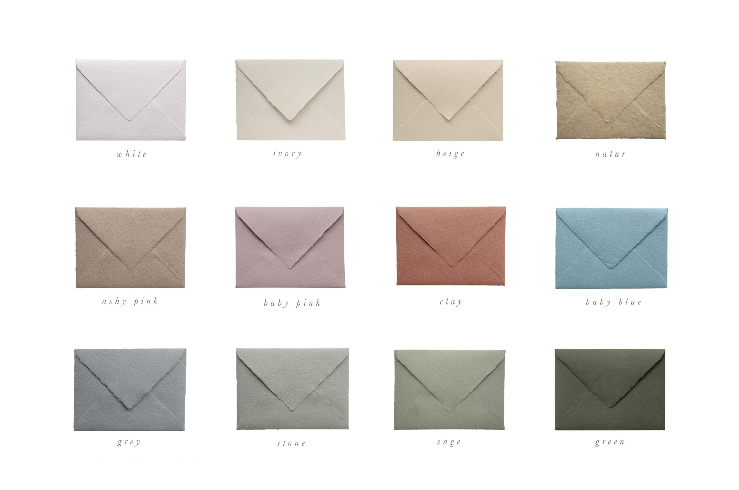 handmade paper envelopes colors PAPIRA